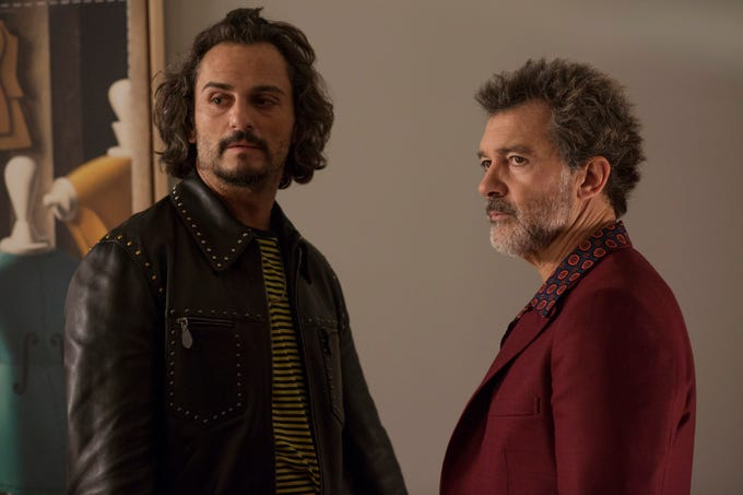 "Alberto (Asier Etxeandía, left) and Salvador (Antonio Banderas)  go for several years without to speaking to each other in ""Pain and Glory."""