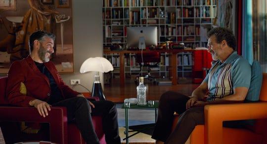 "Federico (Leonardo Sbaraglia), left)  and Salvador (Antonio Banderas) have a complicated relationship in ""Pain and Glory."""