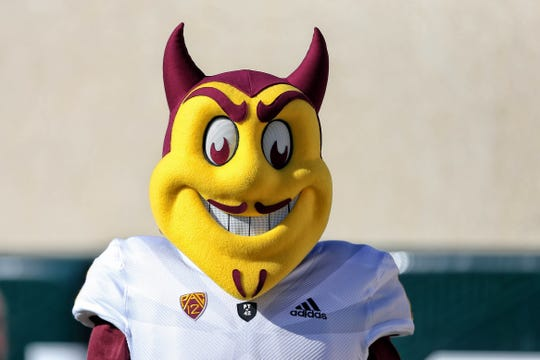 Sep 14, 2019; East Lansing, MI, USA; Arizona State Sun Devils mascot stands on the field during the first quarter of a game against the Michigan State Spartans at Spartan Stadium. Mandatory Credit: Mike Carter-USA TODAY Sports