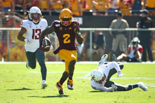 Arizona State Sun Devils wide receiver Brandon Aiyuk (2) runs for a 86-yard touchdown on a pass from Jayden Daniels against the Washington State Cougars in the first half during a game on Oct. 12, 2019 in Tempe, Ariz.