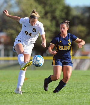 Katelyn Rueppel, right, and Elco fell to Conestoga Valley, 3-1, in the opening round of the Lancaster-Lebanon League playoffs on Saturday.