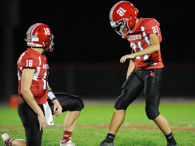 A-C kicker Macrae Plummer (21) lines up for a 54-yard field goal attempt which he makes to put AC up 24-14 at halftime in a game between the Annville-Cleona HS Dutchmen and the Donegal HS Indians played in Annville Friday Oct.11,2019.