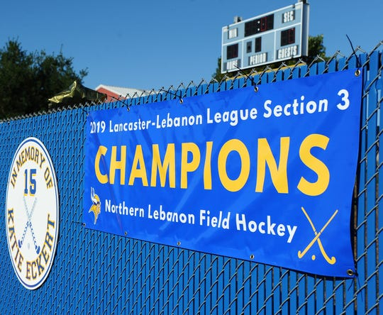 The Northern Lebanon Vikings have their L-L League Section 3 Championship banner hanging by their field.