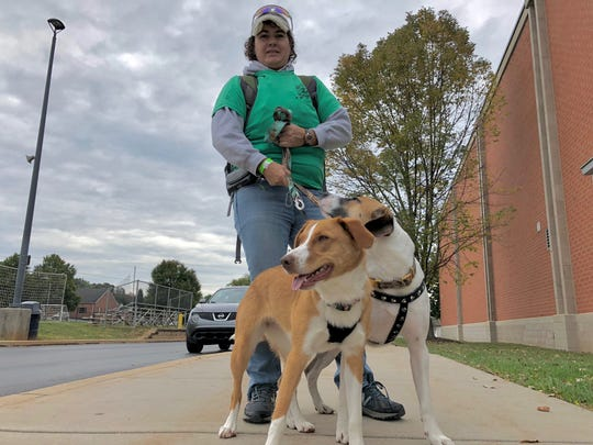 Stacy Naugle, of Windsor Township, brought her two dogs, Zoey (left) and T.J. (right) to the 2019 Mental Health Awareness Walk for the York-Adams chapter of the National Alliance on Mental Illness Saturday, Oct. 12, at West York Area Middle School.