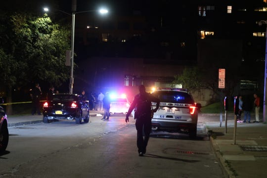 Rochester police on scene of a fatal stabbing on Bragdon Place in downtown Rochester Friday night.