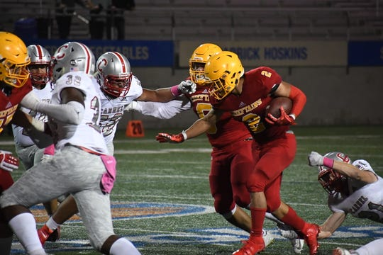 Palma running back Anthony Villegas (2) had his second five-touchdown game of the season Friday on his way to Athlete of the Week honors.