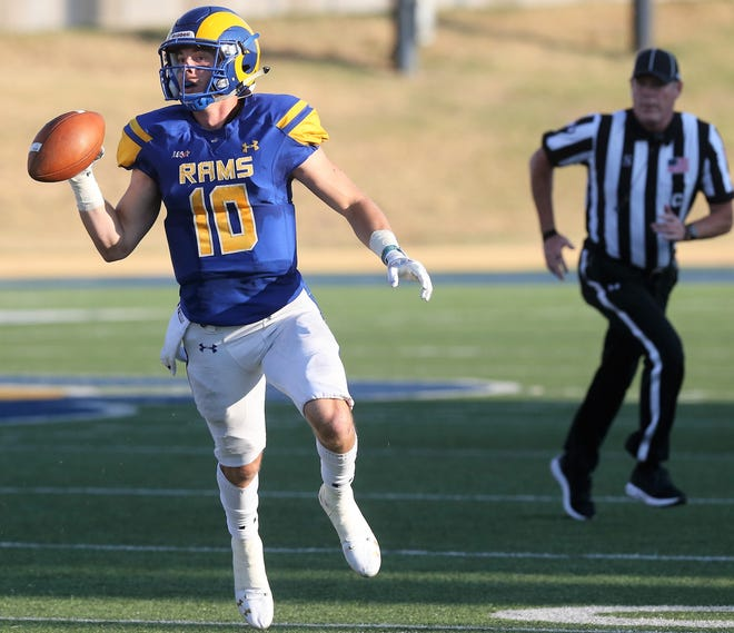 Angelo State University quarterback Payne Sullins looks for an open receiver during a game earlier in the 2019 season.