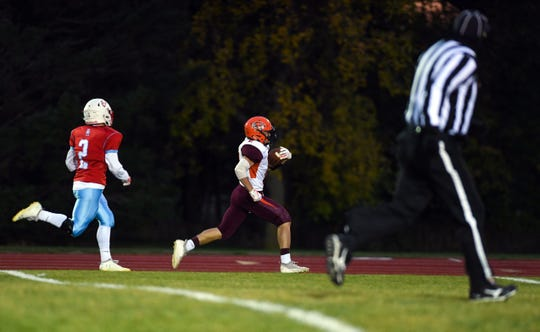 Tyce Ortman of Canistota/Freeman runs the ball in for a touchdown during a game against Bon Homme on Friday, October 11, in Tyndall.