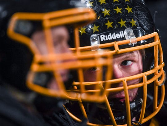 Colman-Egan lineman and linebacker Austin Gullickson (19) talks to a fellow player during the game against Dell Rapids St. Mary on Friday, Oct. 11, 2019.