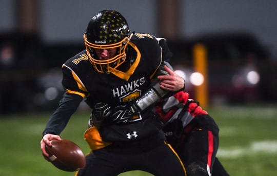 Colman-Egan quarterback and safety Nate Tolley (7) runs the ball during the game against Dell Rapids St. Mary on Friday, Oct. 11, 2019.