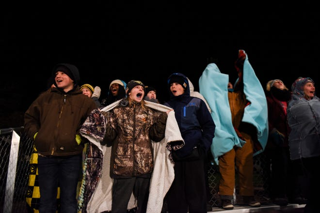 Colman-Egan fans cheer after a touchdown during the game against Dell Rapids St. Mary on Friday, Oct. 11, 2019.