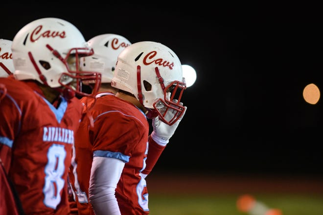 The Bon Homme Cavaliers watch from the sidelines as their teammates play Canistota/Freeman on Friday, October 11, in Tyndall.