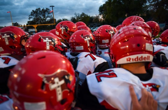 Dell Rapids St. Mary prepares for the game against Colman-Egan on Friday, Oct. 11, 2019.