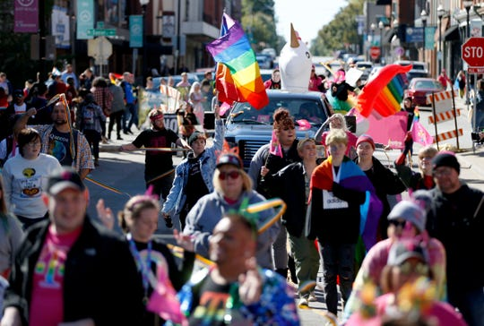 Thousands attended the Ozarks Pridefest parade in downtown Springfield on Saturday, Oct. 12, 2019.