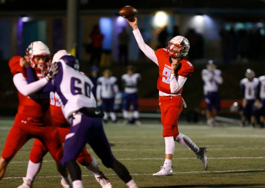 Glendale quarterback Gavin Watts makes a pass during a game against the Camdenton Lakers at Glendale on Friday, Oct. 11, 2019.