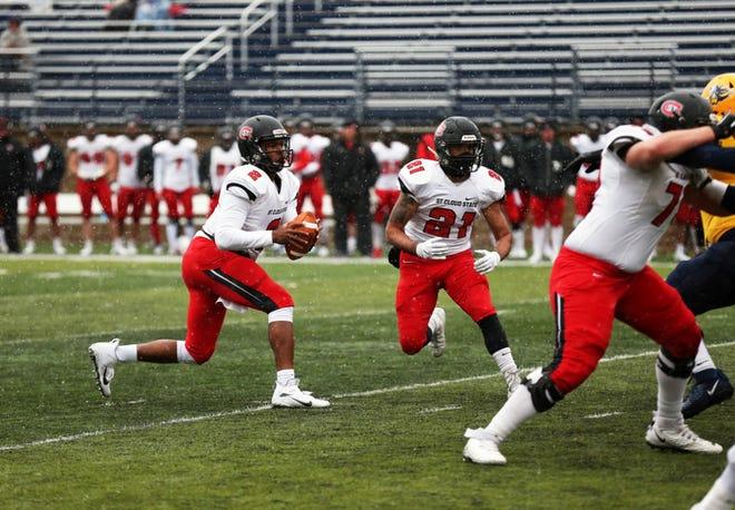 SCSU quarterback Dwayne Lawhorn drops back to pass Saturday, Oct. 12, 2019, at Augustana.