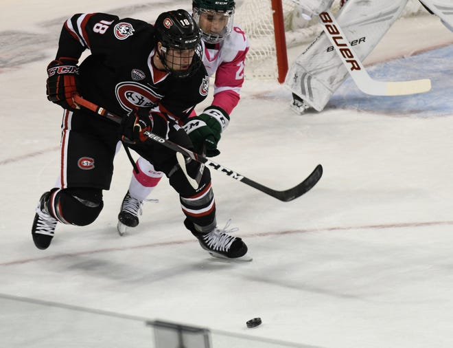 St. Cloud State sophomore defenseman Brendan Bushy battles with a Bemidji State forward in Friday's nonconference game.
