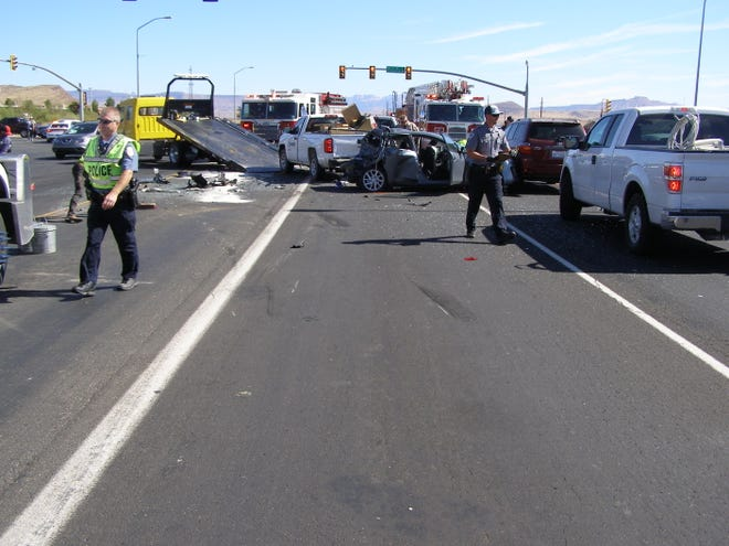 Aftermath of a crash that involved five cars in Washington City on Friday.