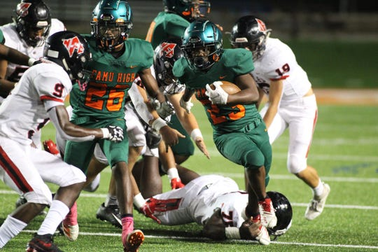FAMU DRS running back Malaki Shuler takes off upfield as NFC beat FAMU DRS 14-12 at Bragg Memorial Stadium on Friday, Oct. 11, 2019.