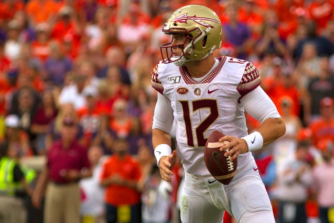 Oct 12, 2019; Clemson, SC, USA; Florida State quarterback Alex Hornibrook (12) looks to pass the ball during the first half of the game against the Clemson Tigers at Clemson Memorial Stadium. Mandatory Credit: Joshua S. Kelly-USA TODAY Sports