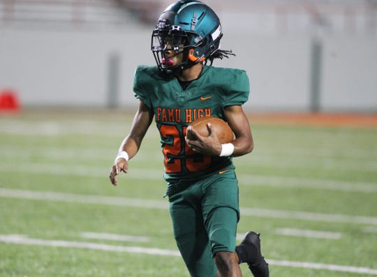 FAMU DRS quarterback Justin Stubbins runs the ball as NFC beat FAMU DRS 14-12 at Bragg Memorial Stadium on Friday, Oct. 11, 2019.