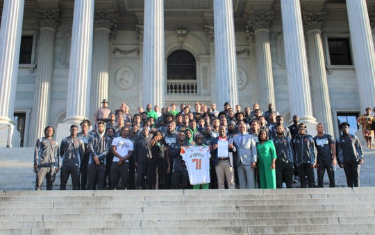FAMU players stand outside the South Carolina Statehouse in Columbia on Friday, Oct. 11, 2019. The team was honored during their trip to Orangeburg to face South Carolina State.
