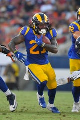 Rams rookie running back Darrell Henderson figures to see more playing time against the 49ers on Sunday with Todd Gurley out because of a bruised left thigh.