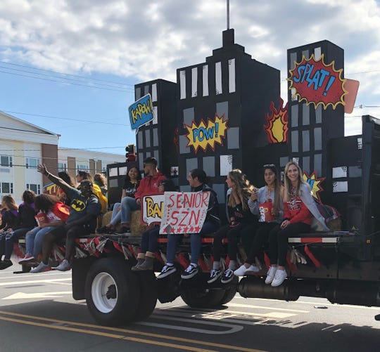 The Vineland High School Class of 2020 float makes its way along Landis Avenue during the Homecoming Spirit Parade. Oct. 12, 2019