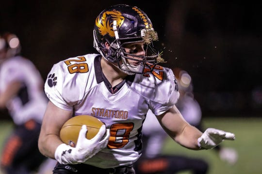 Stratford's Beau Gross rushes the ball against Edgar during a Marawood Conference game on Oct. 11.