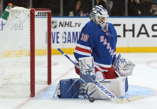 Oct 12, 2019; New York, NY, USA; New York Rangers goaltender Henrik Lundqvist (30) makes a save against the Edmonton Oilers during the first period at Madison Square Garden. Mandatory Credit: Vincent Carchietta-USA TODAY Sports