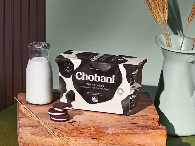 Chobani is donating 10 cents from every purchase of the new Farmer Batch Chobani® Greek Yogurt Milk & Cookies 4-pack to American Farmland Trust to offer multiple microgrants of up to $10,000 to help farmers transfer or protect their land, strengthen their farm business, or develop climate plans. (PRNewsfoto/Chobani, LLC)