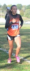 New Lexington sophomore Sydney Hambel paces the girls field during Saturday's MVL Cross Country Championships at Foxfire. Hambel won with a time of 20:00.