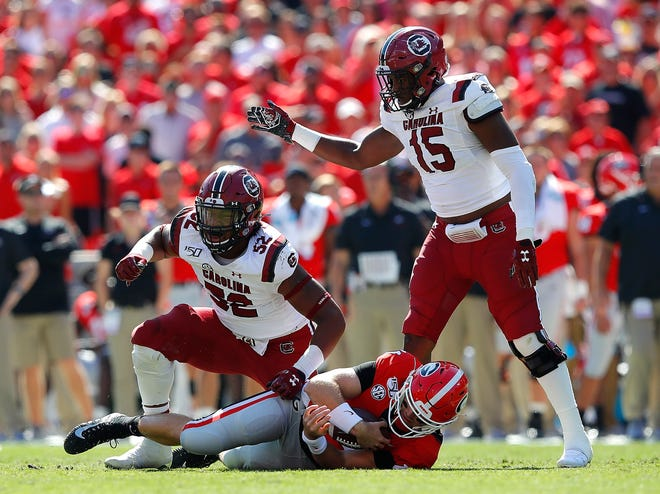 Kingsley Enagbare of the South Carolina Gamecocks reacts after sacking Jake Fromm of the Georgia Bulldogs in the first half.