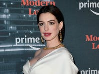 """US actress Anne Hathaway attends the Amazon Prime Video """"Modern Love"""" premiere reception at the Museum of Modern Love (MoML) on October 10, 2019 in New York City. (Photo by Angela Weiss / AFP) (Photo by ANGELA WEISS/AFP via Getty Images) ORIG FILE ID: AFP_1LB458"""
