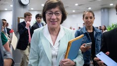 Republican senator from Maine Susan Collins walks near the Senate subway to the Senate floor for a series of votes on Aug. 1, 2019.
