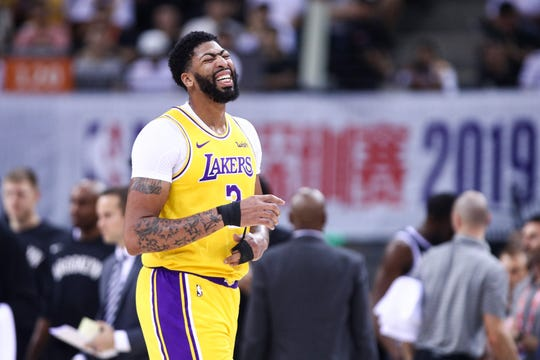 Anthony Davis of the Los Angeles Lakers reacts during a game against the Brooklyn Nets.