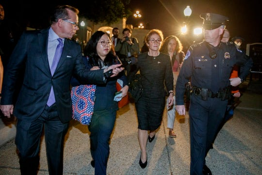 Former US ambassador to Ukraine, Marie Yovanovitch, center, departs the Capitol on Oct. 11, 2019. Yovanovitch testified for about nine hours to investigators of three House committees conducting an impeachment inquiry of President Donald J. Trump.