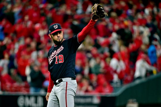 Nationals starting pitcher Anibal Sanchez is removed after allowing his first hit of the game in the eighth inning.