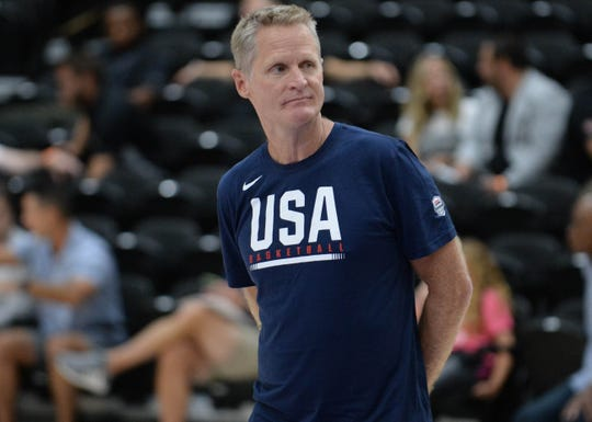 Steve Kerr during a Team USA practice in August.