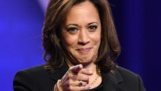 Democratic presidential hopeful California Senator Kamala Harris gestures as she speaks during a town hall devoted to LGBTQ issues hosted by CNN and the Human rights Campaign Foundation at The Novo in Los Angeles on October 10, 2019. (Photo by Robyn Beck / AFP) (Photo by ROBYN BECK/AFP via Getty Images) ORIG FILE ID: AFP_1LB57V