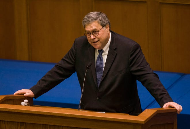 United States Attorney General William P. Barr speaks to Notre Dame Law School students and faculty on Friday, Oct. 11, 2019, inside Notre Dame's Eck Hall of Law in South Bend, Ind. (Robert Franklin/South Bend Tribune via AP) ORG XMIT: INSBE104