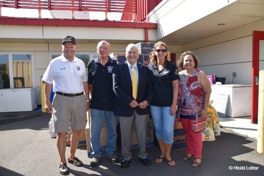 Bayville Elks Lodge members with Toms River Councilman Mo Hill (l), Mayor Thomas F. Kelaher (yellow tie) and Councilwoman Maria Maruca (r)