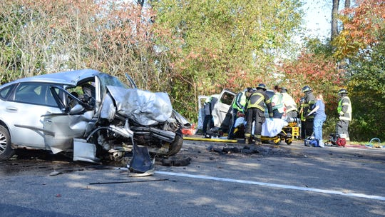 Four people were hurt in this two-vehicle head-on crash Sunday south of Battle Creek.