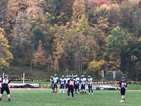 Fall folliage provides a colorful backdrop as Dryden prepares to kick off to Newark Valley to the start the second half of Saturday's Section 4 Football Conference Division IV game at NV. The Cardinals won, 44-12.