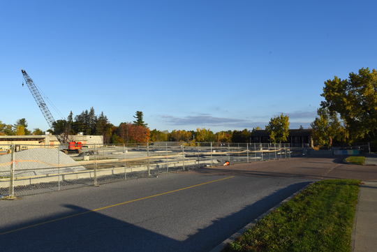 The renovation of the Kmart plaza off Shelburne Road in South Burlington to make way for a new Hannaford supermarket includes extensive work to level the parking lot and the cut-through road to Queen City Parkway. Sunday, Oct. 13, 2019.