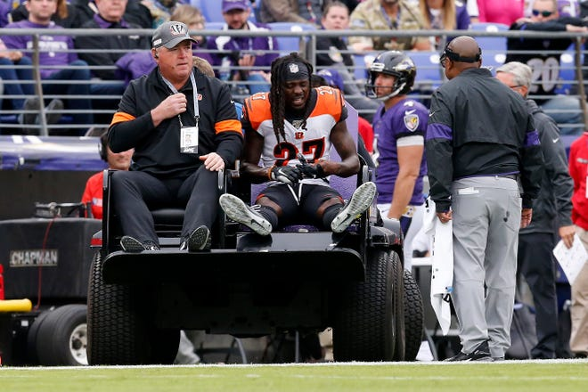 Cincinnati Bengals cornerback Dre Kirkpatrick (27) is carted to the locker room after injuring his leg on a play in the first quarter of the NFL Week 6 game between the Baltimore Ravens and the Cincinnati Bengals at M&T Bank Stadium in Baltimore on Sunday, Oct. 13, 2019.