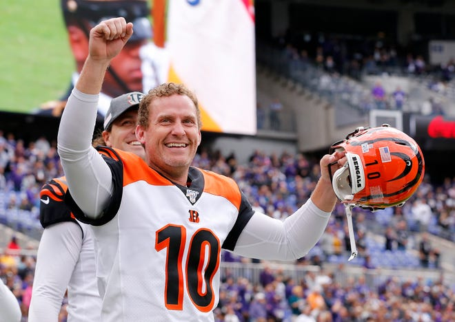 Cincinnati Bengals punter Kevin Huber (10) smiles as he hears from fans before the first quarter of the NFL Week 6 game between the Baltimore Ravens and the Cincinnati Bengals at M&T Bank Stadium in Baltimore on Sunday, Oct. 13, 2019.