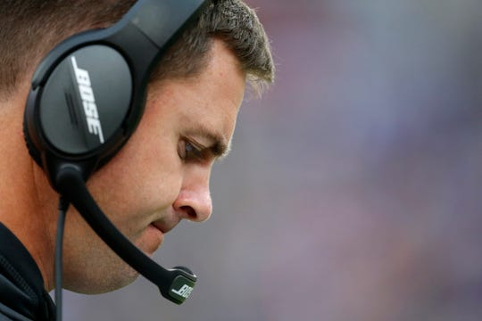 Cincinnati Bengals head coach Zac Taylor paces the sideline in the fourth quarter of the NFL Week 6 game between the Baltimore Ravens and the Cincinnati Bengals at M&T Bank Stadium in Baltimore on Sunday, Oct. 13, 2019. The Bengals remained winless with a 23-17 loss to the Ravens.