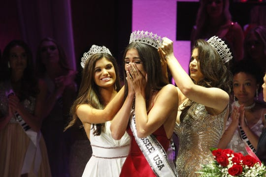 Justice Enlow, Miss Belle Meade, was crowned Miss Tennessee USA 2020 during the pageant in Clarksville on Saturday, Oct. 12, 2019. Crowning her are Miss Tennessee Teen USA 2019 Baily Guy, left, and Miss Tennessee USA 2019 Savana Hodge.