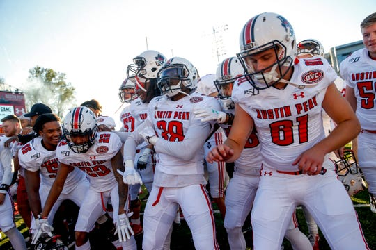 Austin Peay players chant and dance after winning an OVC football game between the Austin Peay Governors and Southeast Missouri Redhawks at Fortera Stadium in Clarksville, Tenn., on Saturday, Oct. 12, 2019.